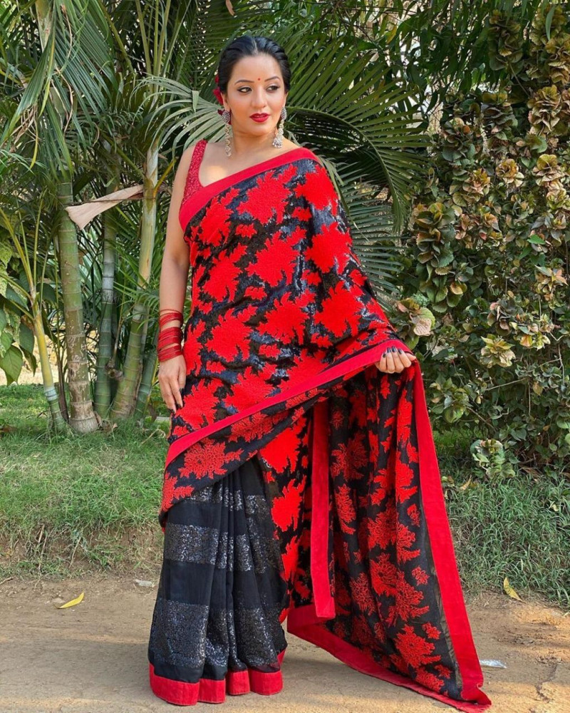 Bollywood Stylish Black Saree With Sequence Red Blouse