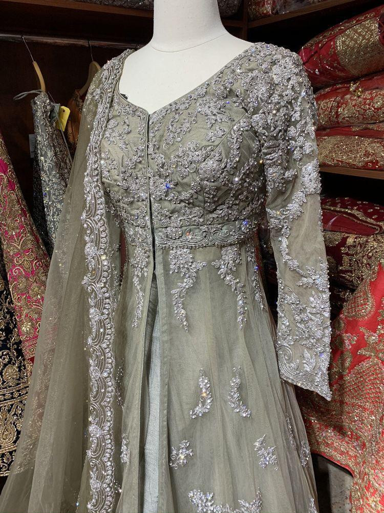 Stylish Pastel Green Embroidery Work Party Wear Gown