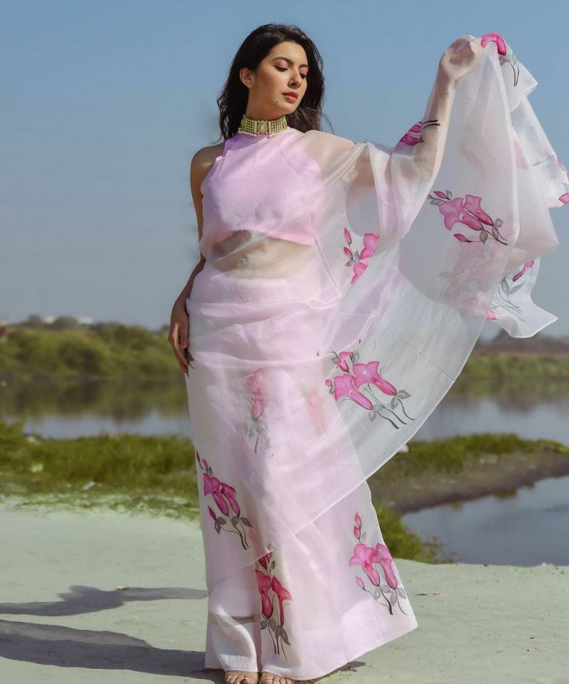 Fancy Light Pink Floral Organza Saree With Blouse