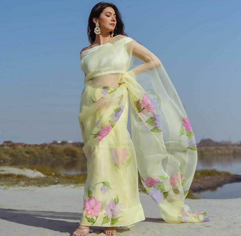 Demanding Soft Organza Silk Light Yellow Saree Online