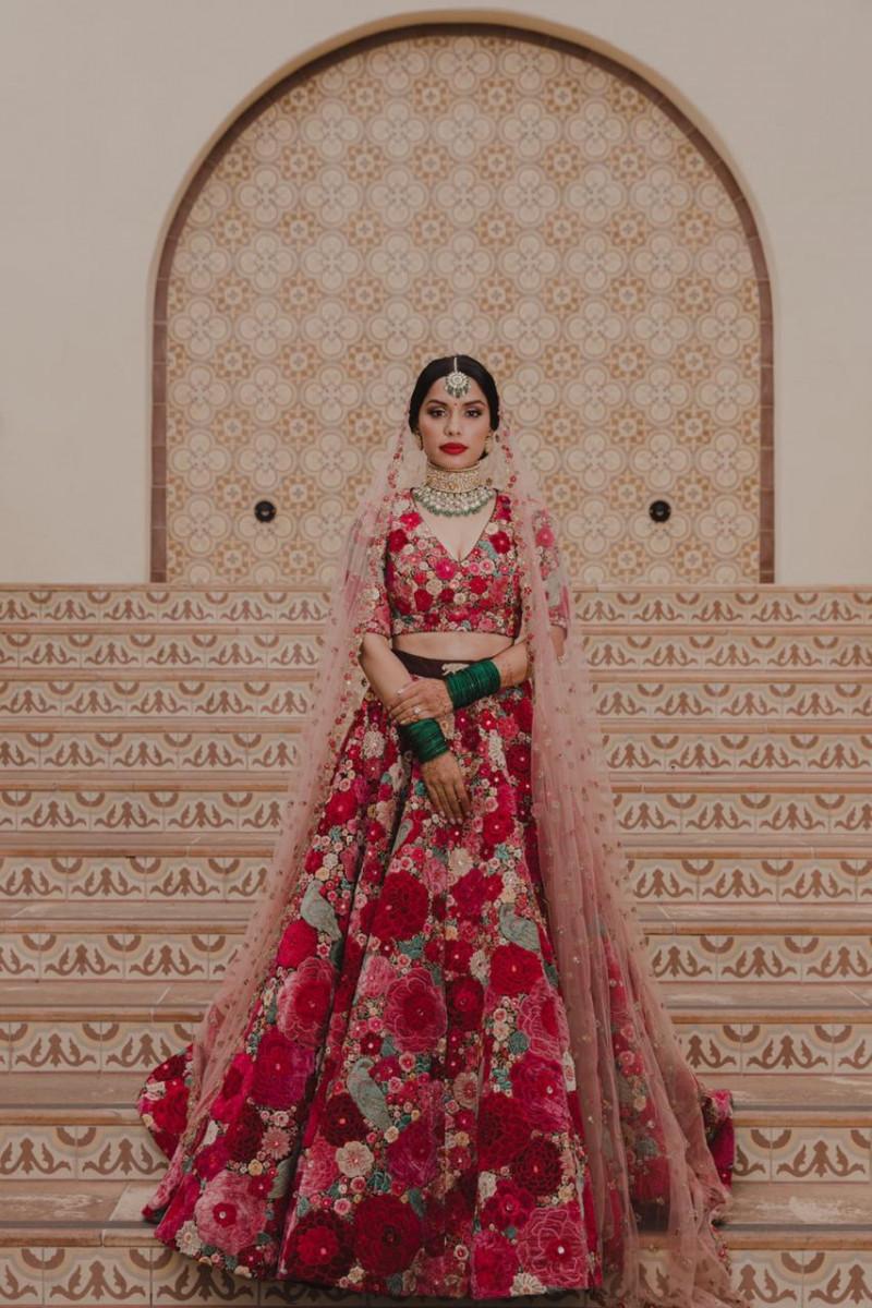 Sabyasachi Maroon Floral Printed Organza Bridal Lehenga Choli