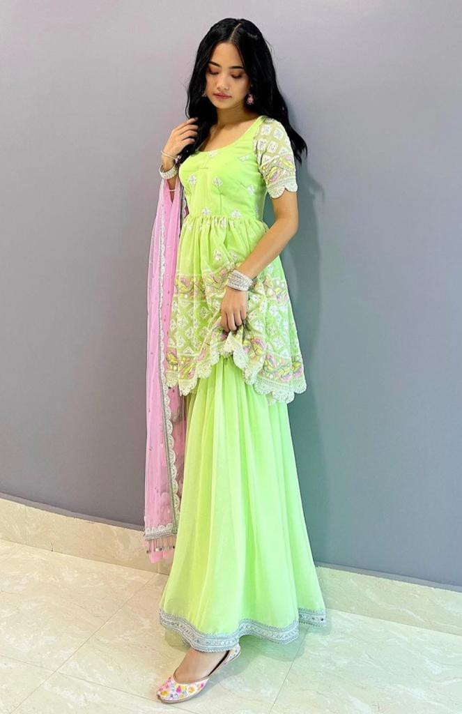 Latest Light Green Party Wear Sharara Suit Online