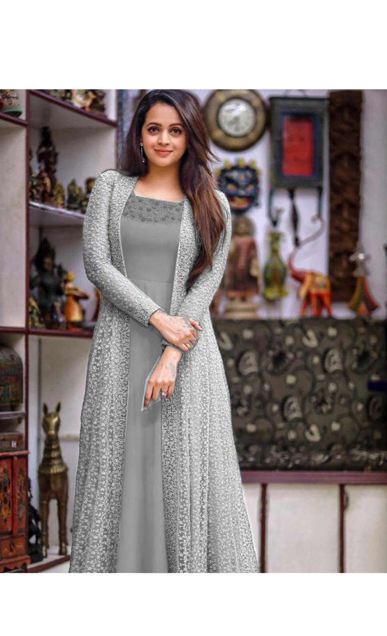 Engrossing Festival Wear Georgette Grey Gown With Koti
