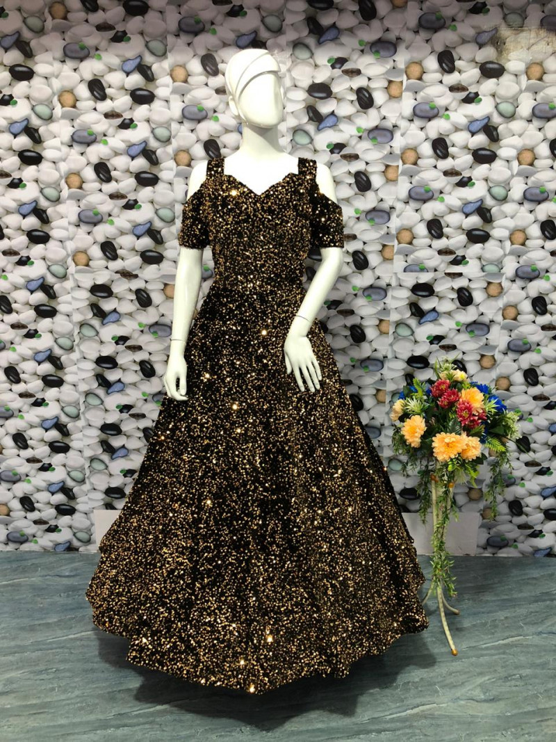 Black Fully Sequins Velvet Party Wear Readymade Gown