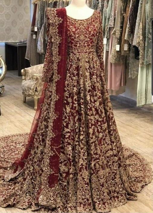 Wedding Wear Red Heavy Embroidery Work Long Gown With Dupatta
