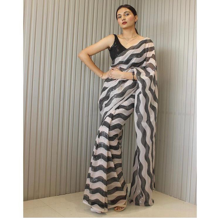 Now Trending Black And White Striped Heavy Sequence Saree Online