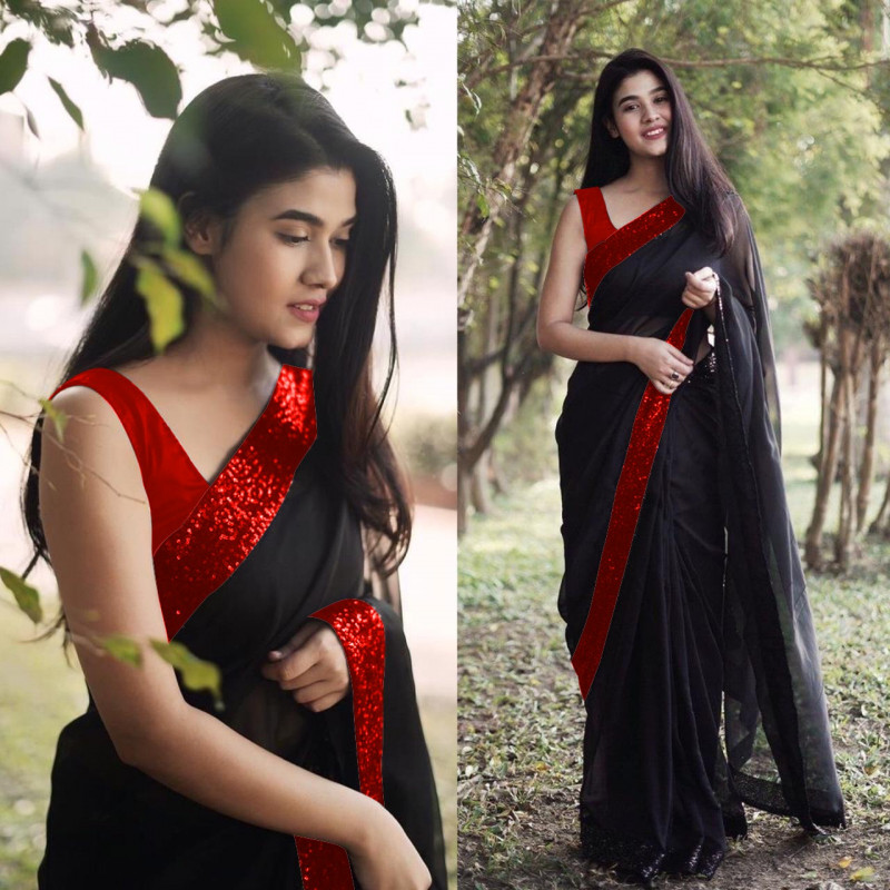 Stylish Black Saree With Red Blouse Online