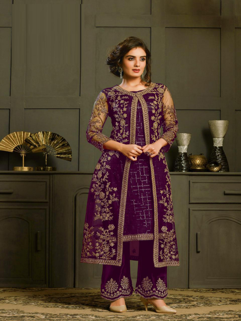 Beautiful Purple Wedding Wear Designer Palazzo Suit