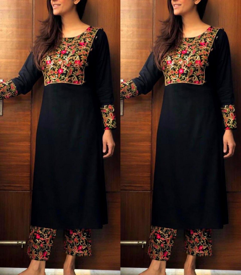 Latest Black Embroidered Palazzo Suit Online