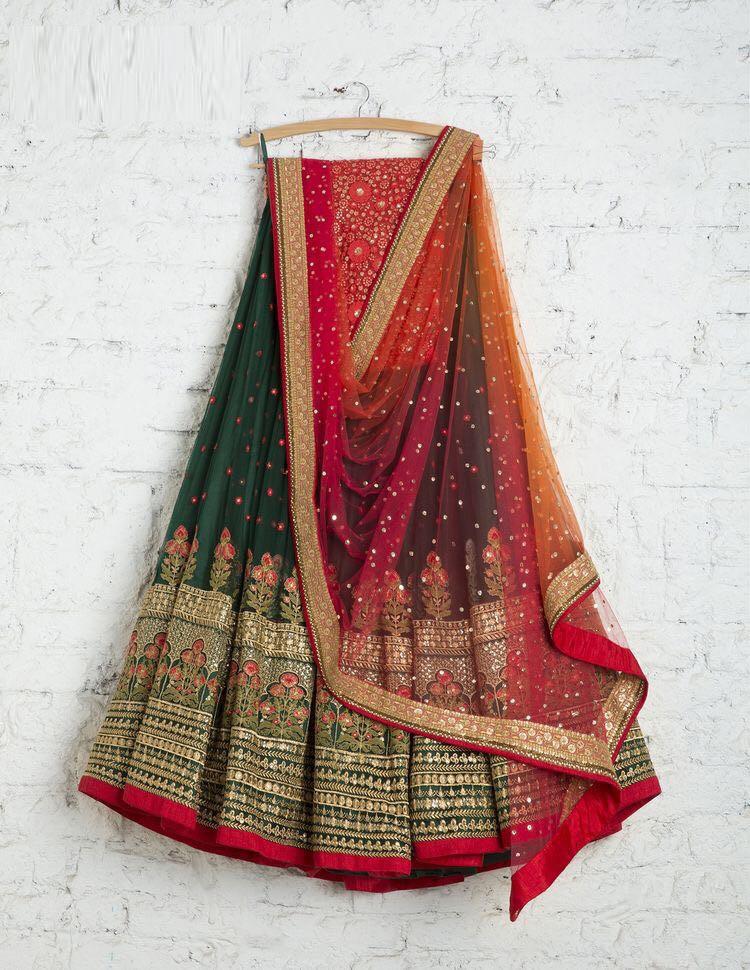 Wedding Wear Green Designer Lehenga Choli With Dupatta