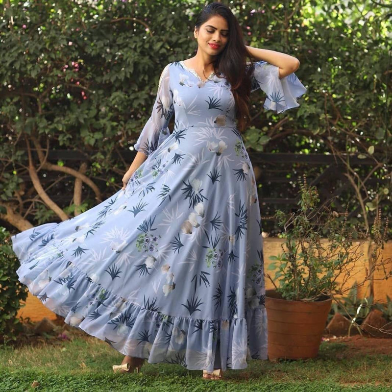 Designer Sky Color Party Wear Printed Beautiful Gown