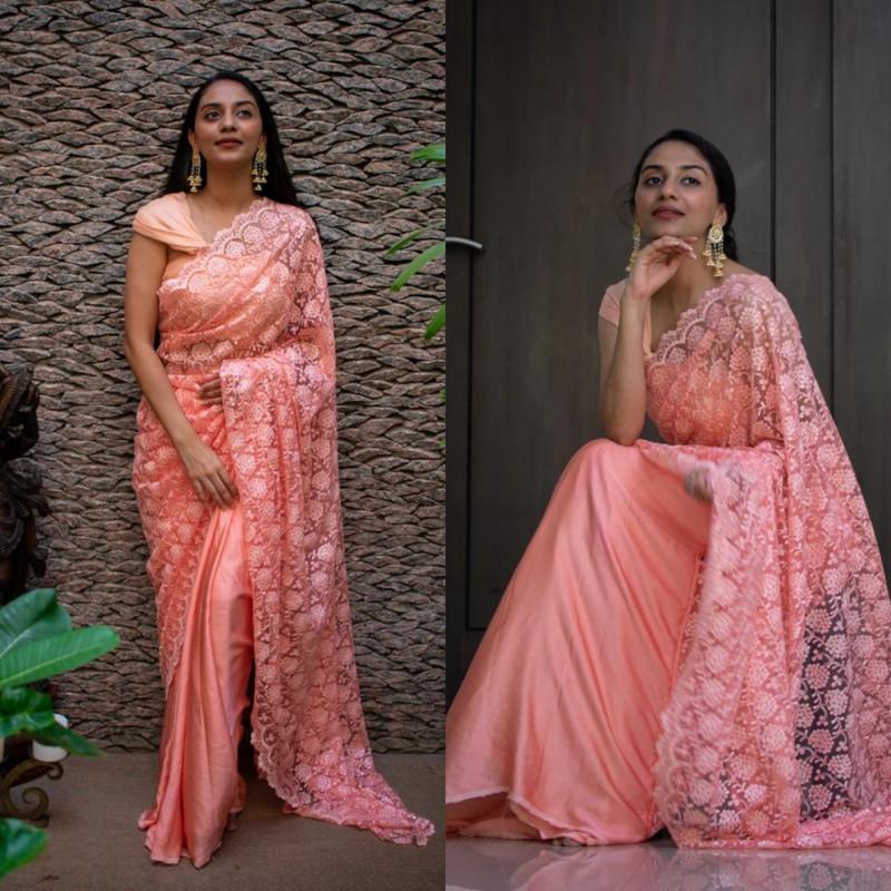 Designer Peach Color Party Wear Saree