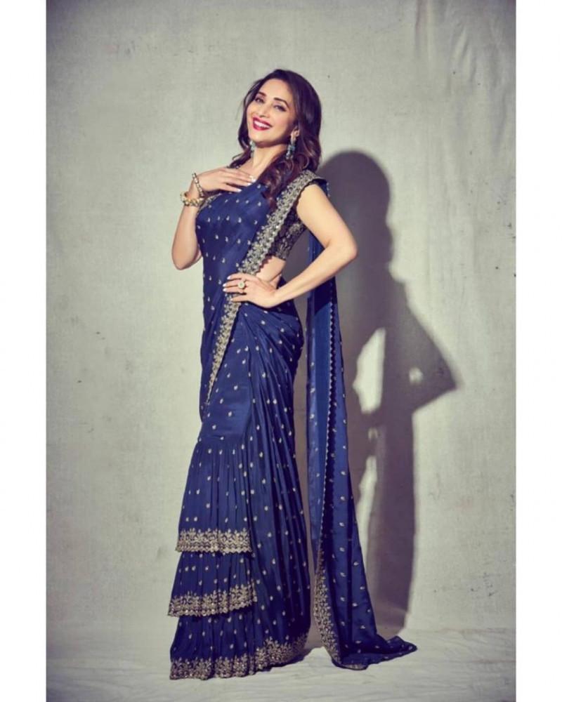 Madhuri Dixit Wear Party Wear Royal Blue Bollywood Saree