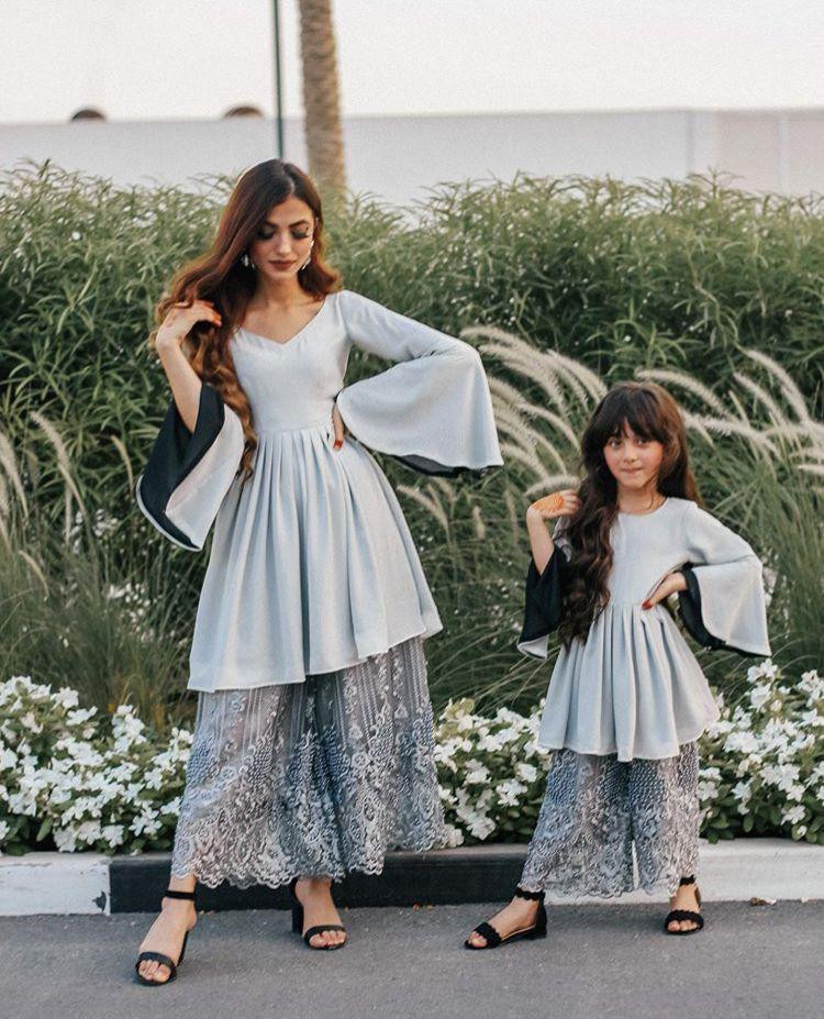 Party Wear Sea Green Mother And Daughter Combo Dress