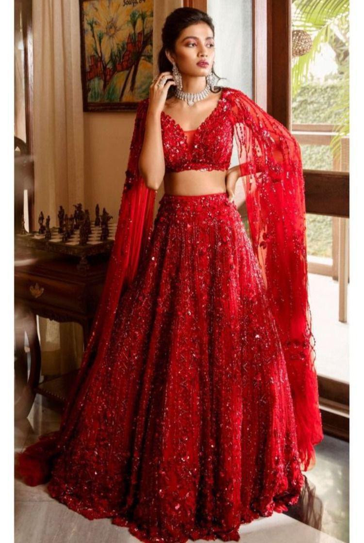 Stunning Red Sequin Work Attractive Party Wear Lehenga Choli