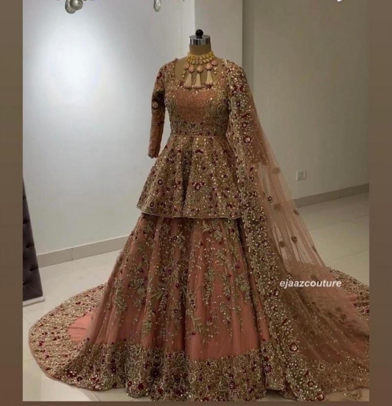 Designer Peach Colored Wedding Wear Lehenga With Top 2021