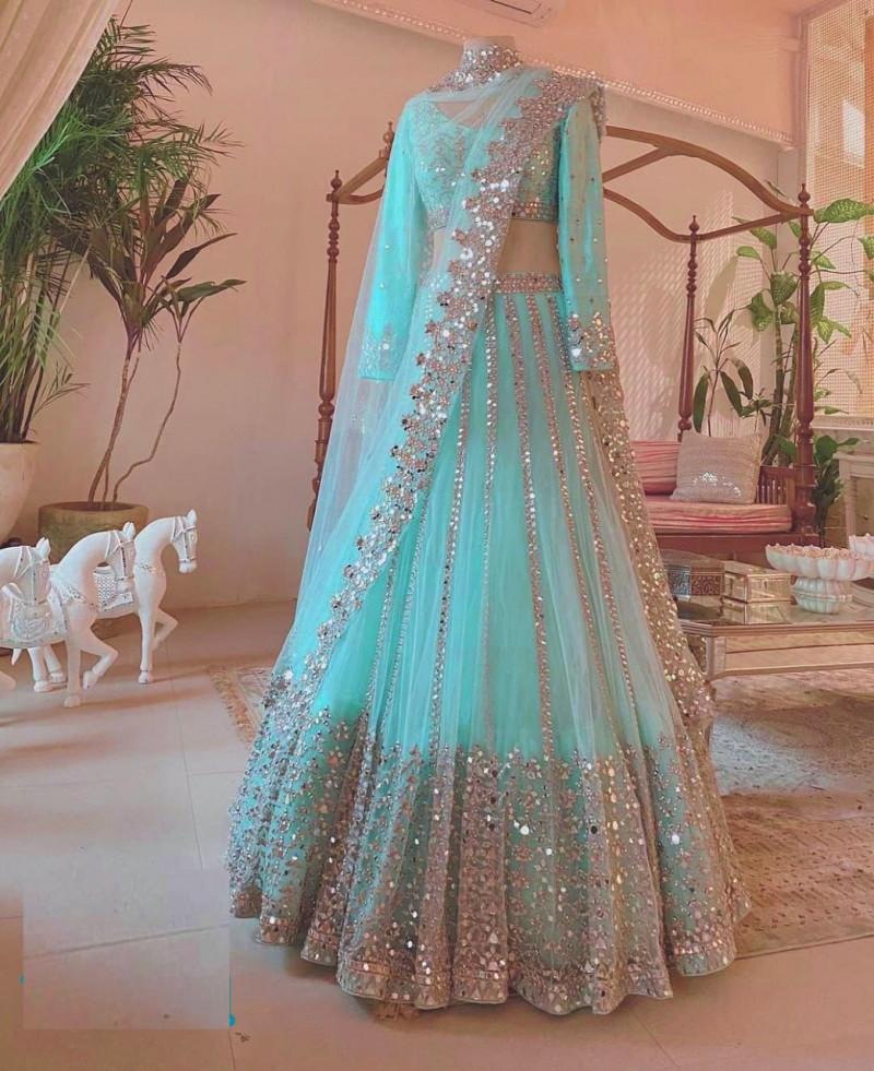 Sky Blue Foil Work Designer Lehenga Choli for Women Indian Bridesmaids Trendy Ready To Wear Half Sari Bridal Wedding Outfits Skirts Girlish
