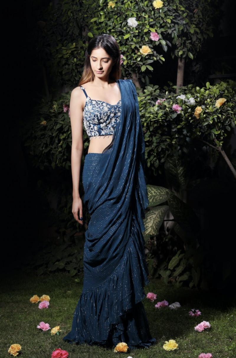 Stylish Glowing Blue Ruffle Party Wear Saree