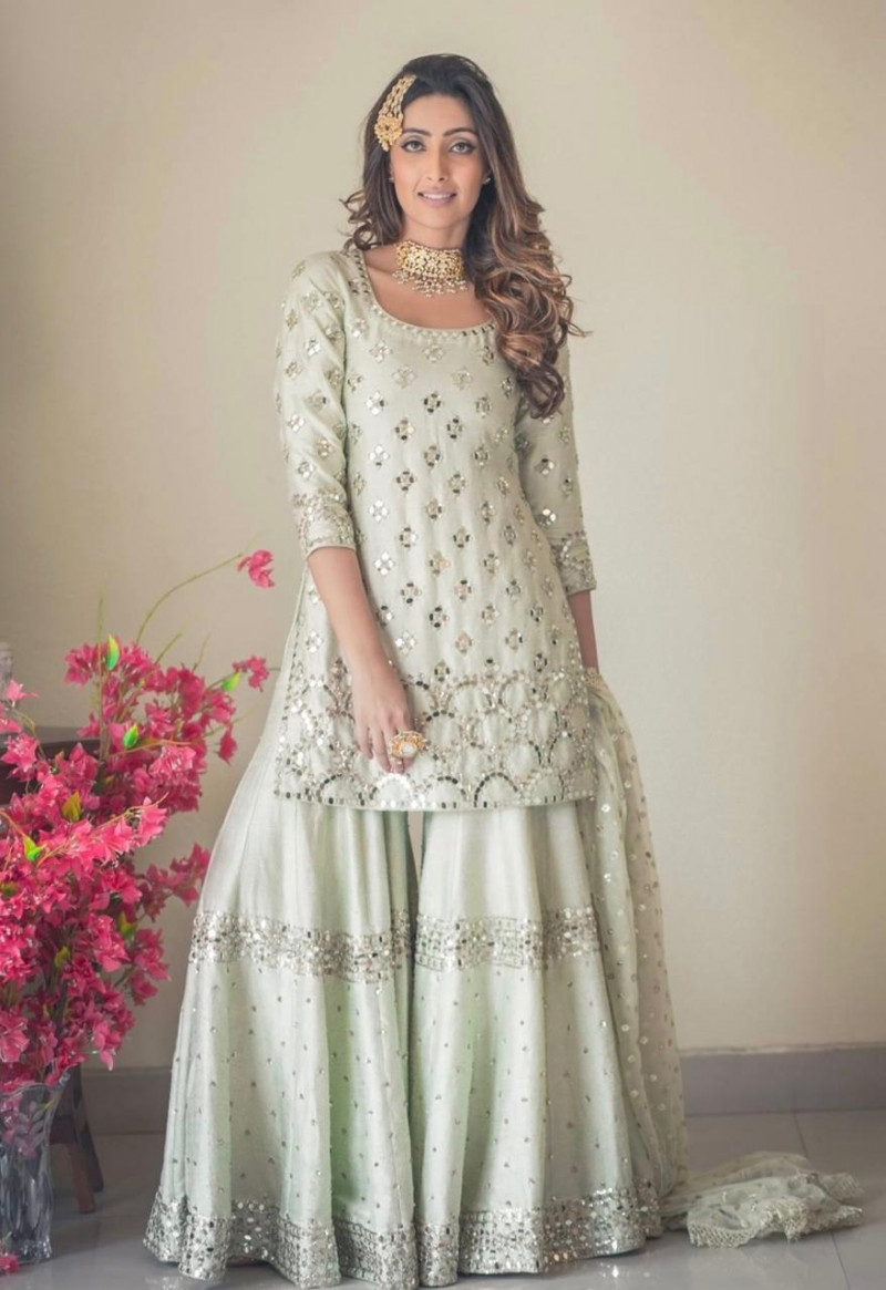Beauteous Off White Color Sharara Suit