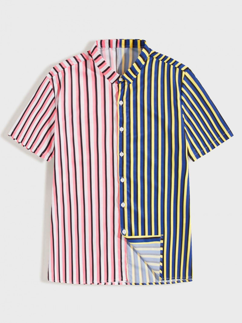 Boys Pink And Yellow Beautiful Striped Shirt King Size Online Shirt in India