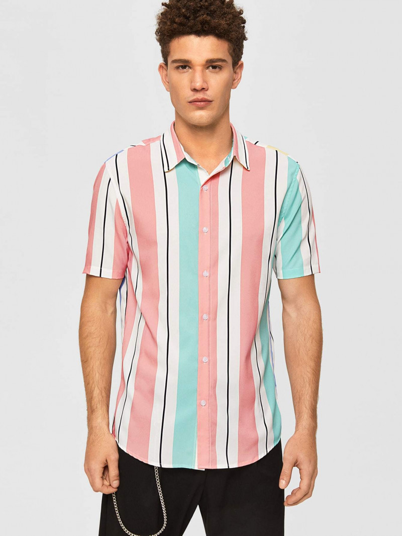Boys Pink Colored Short Sleeve Striped Shirt King Size Online Shirt in India