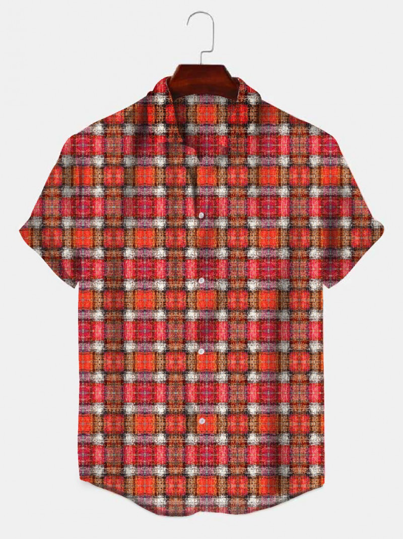 Buy Red And White Color Checks Half Sleeve Shirt King Size Online Shirt in India