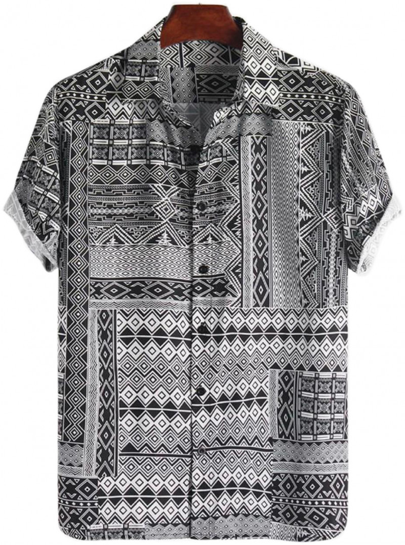 New Look Brighter Black All Over Print Cotton Shirt for Men King Size Online Shirt in India