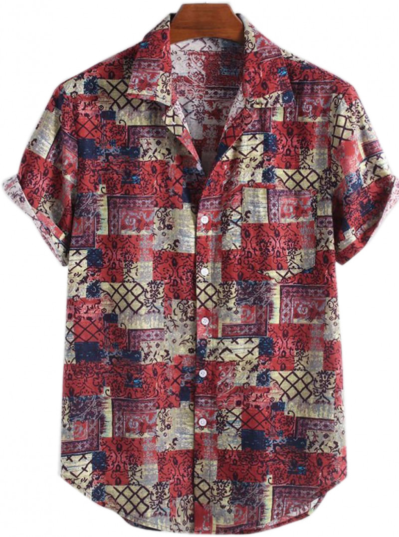 Latest Cotton Half Sleeve Red Color Printed Shirts King Size Online Shirt in India