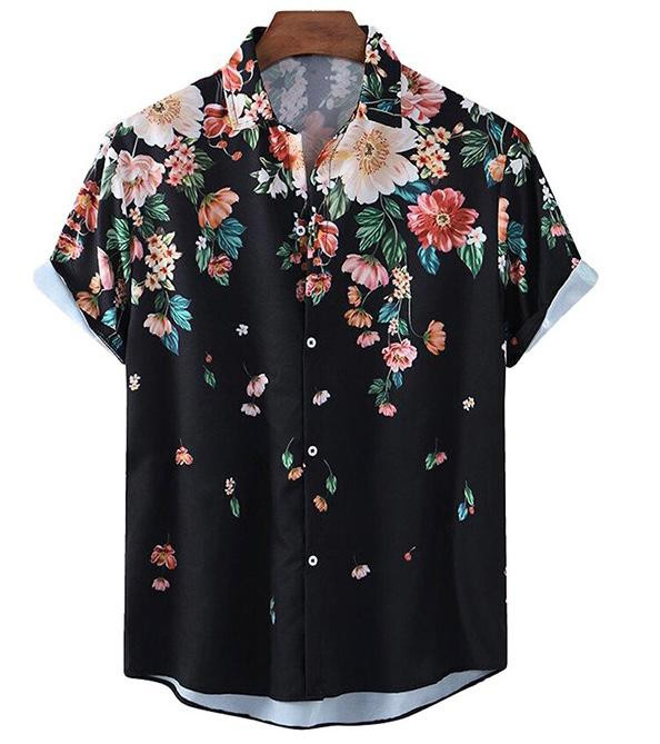 Stylish Black Color With Floral Pattern Cotton Shirt For Mens King Size Online Shirt in India