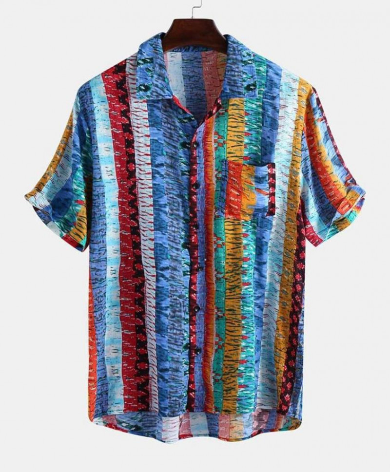 Mens Trending Rainbow Color Pattern Cotton Shirt King Size Online Shirt in India