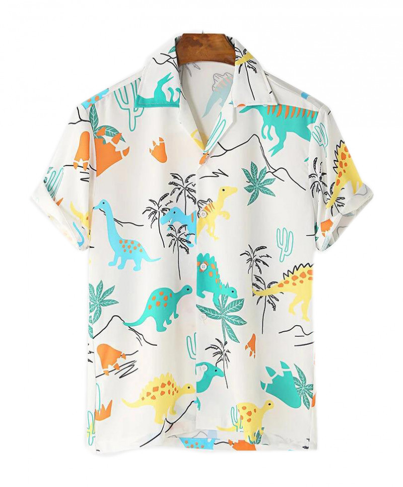 Latest Floral Print White Color Cotton Printed Shirts For Mens King Size Online Shirt in India
