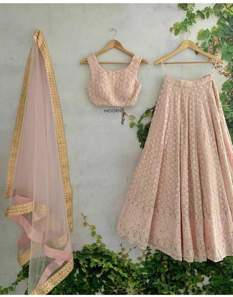 Captivation Light Pink Designer Georgette Wedding Wear Lehenga Choli