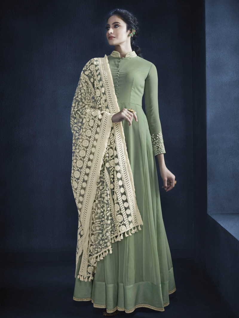 Adorable Green Designer Party Wear Gown 2021