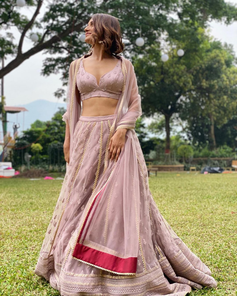 Latest Mauve Peach Stylish Bollywood Lehenga Choli