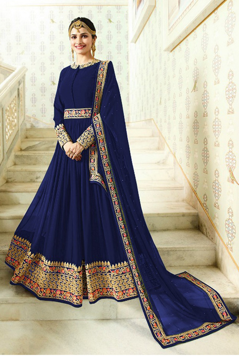 Blooming Blue Faux Georgette With Embroidered Anarkali Suit
