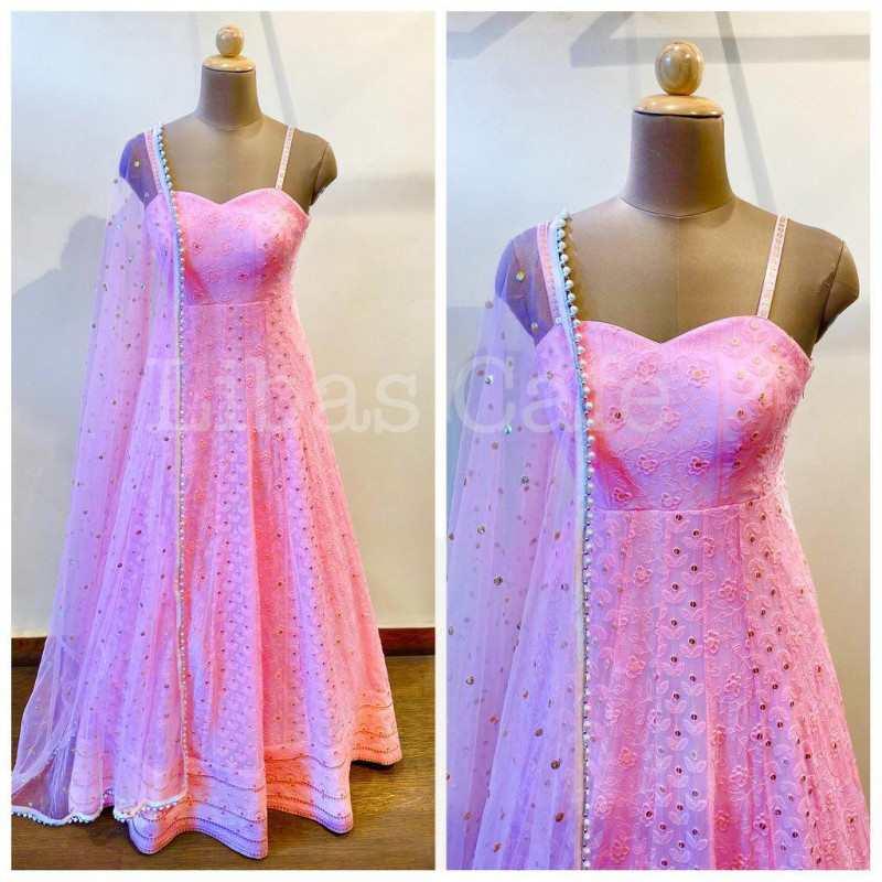 Fancy Baby Pink Party Wear Gown For Girls