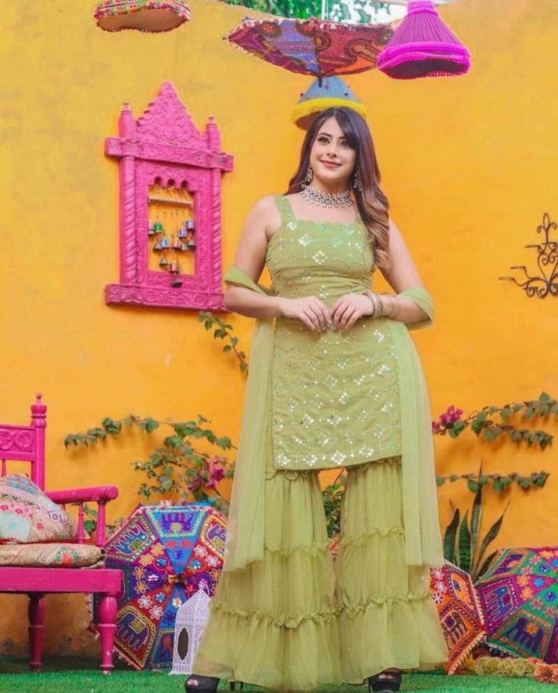 Buy Latest Green Sequence Party Wear Sharara Suit
