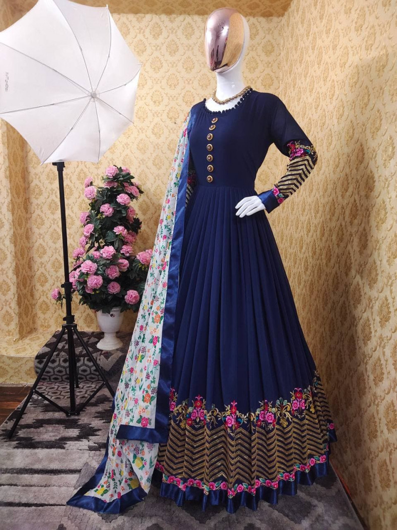 Latest Blue Embroidery Work Gown