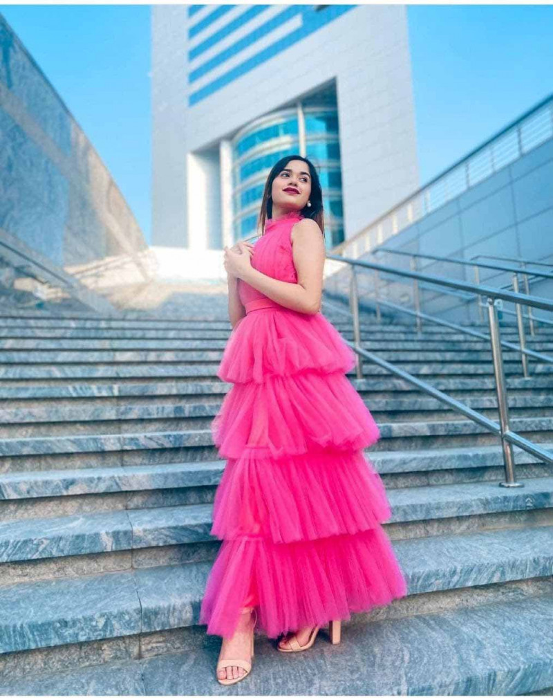 Stylish Pink Party Wear Ruffle Gown