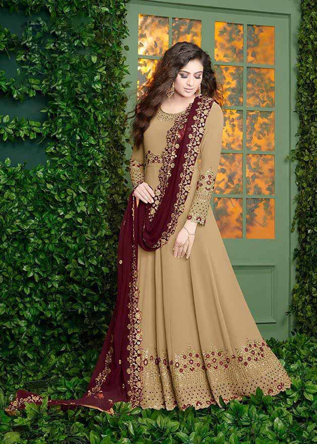 Latest Mustard Yellow  Party Wear Gown