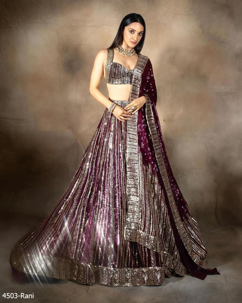 Kiara Advani Adorable Rani Pink Sequence Lehenga Choli