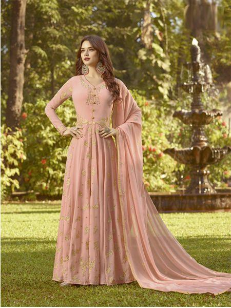 Buy Designer Peach Anarkali Salwar Suit Online - YOYO Fashion