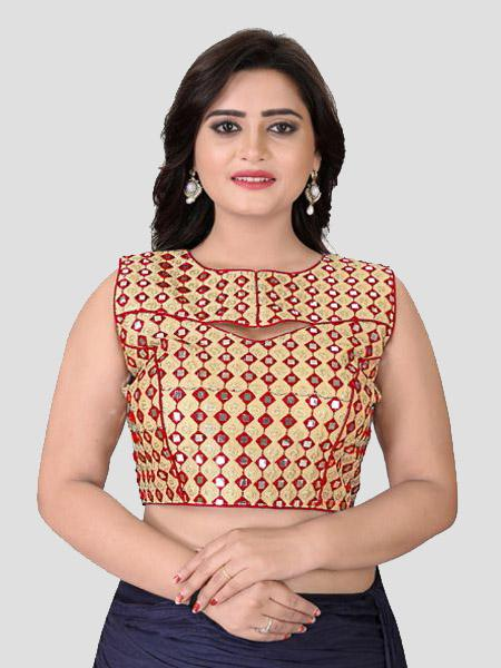 Buy Red Mirror Work Blouse Online in India from YOYO Fashion