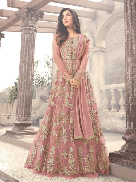 Buy Sonal Chauhan Onion Pink Embroidered Bollywood Anarkali Suit Online From YOYO Fashion