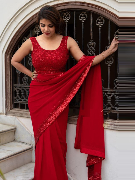 Red Georgette Border Saree