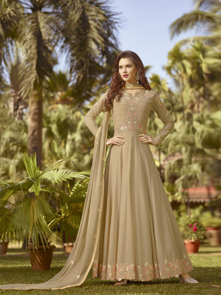 Buy Designer Beige Embroidered Anarkali Suit Online- YOYO Fashion