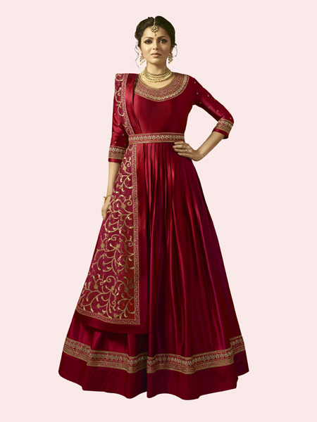 Buy Drashti Dhami Embroidered Bollywood Anarkali Design in Red Online From YOYO Fashion