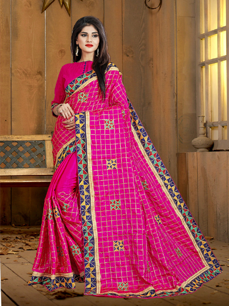 Buy Fancy Pink Silk Saree Online in India- YOYO Fashion
