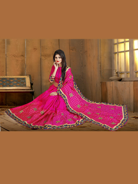 Fancy Pink Silk Saree