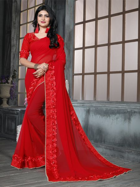 Buy Fancy Red Georgette Saree Online in India- YOYO Fashion